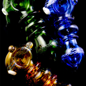 Colored Glass Striped Marbled Hand Pipe